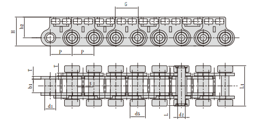 Conveyor chains for fibreboard equipment